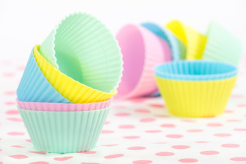 Cupcake baking cups in pastel colors