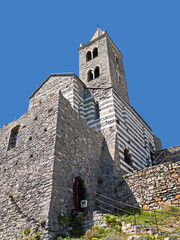 Porto Venere, Italy. Church of Saint Peter, landmark.