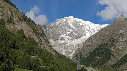 Alps. Mont Blanc with snow in summer.