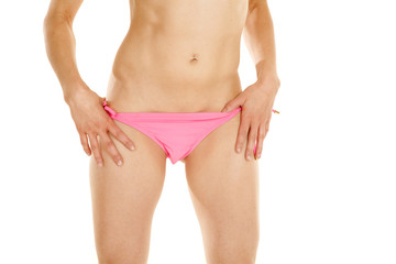 woman body pink bikini bottoms hands on strings