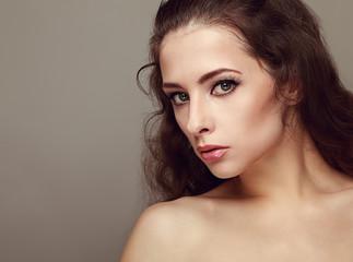 Beautiful makeup female model with long eyelashes. Closeup