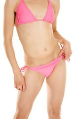 woman body pink bikini hand on strap
