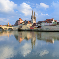 Regensburg Cathedral and Stone Bridge in Regensburg, Germany