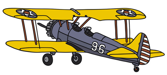 Hand drawing of an old american biplane
