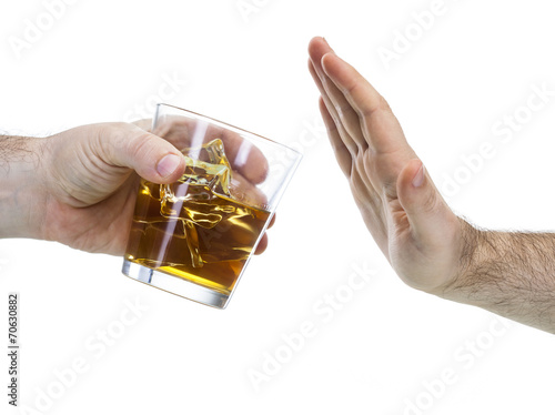 Fotobehang Bar hand reject a glass of whisky