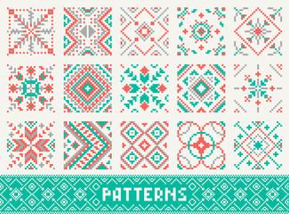 colourful seamless pattern set