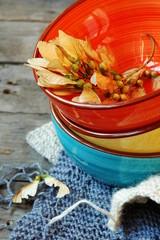 Цветная посуда в осеннем стиле