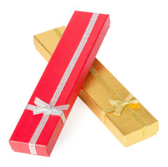 long gift boxes isolated on the white background