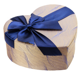 heart-shaped gift box with blue bow
