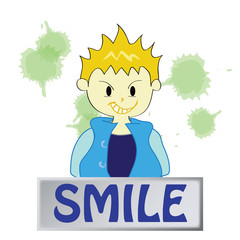 a boy character  feeling smile on white background