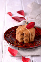 Stacked thin ginger wafer cookies