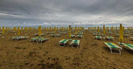 I italian coastline in cloudy day,Jesolo.