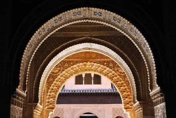 The Alhambra Palace in Granada, Islamic decoration, Spain