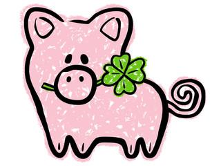 Süßes Glücksschwein mit vierblättrigem Kleeblatt im Maul, Vektor