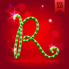 Electric modern garland christmas new year font