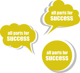 all parts for success. Set of stickers, labels, tags. Business