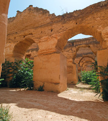 The ruins of the Royal stables in Meknes, Morocco