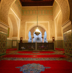 Interior of the mausoleum of Moulay Ismail in Meknes