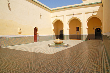Courtyard of the mausoleum of Moulay Ismail in Meknes