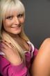 canvas print picture - blonde Frau lacht