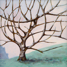 a painting of a leafless tree