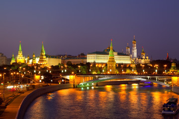 Moscow Kremlin  and   Moskva River in night