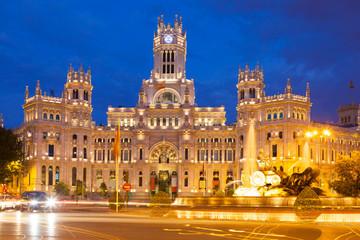 Palacio de Cibeles in summer evening. Madrid