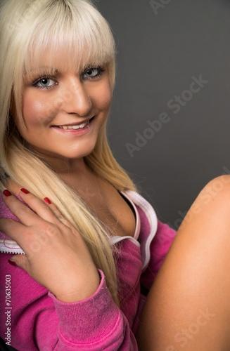 canvas print picture blonde Frau lacht