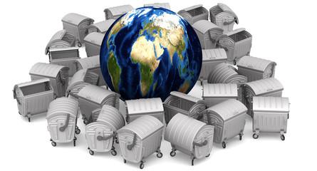 Планета земля окружена мусорными контейнерами