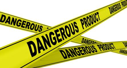 Опасный продукт (dangerous product). Желтая оградительная лента
