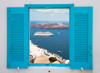 window with view of Santorini volcano