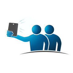 Two people Selfie. Concept of taking a self portrait