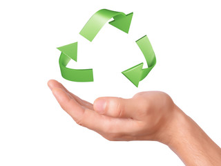 hand holding green Recycling symbol