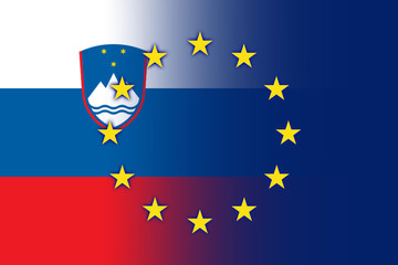 Slovenia and European Union Flag