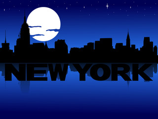 New York skyline reflected with text and moon illustration