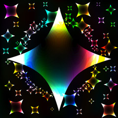 Many colorful stars, unusual dark abstract vector background