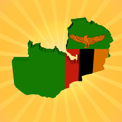 Zambia map flag on sunburst illustration