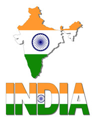 India map flag and text illustration