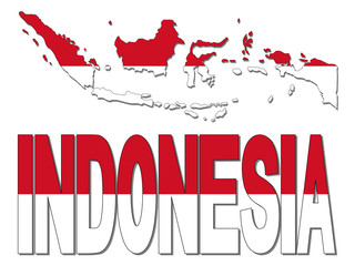 Indonesia map flag and text illustration