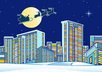 Santa Claus over the city