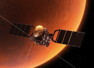 "Spacecraft ""Mars Express"" Orbiting Planet Mars"