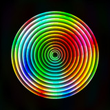 Colorful light circles abstract background - vector astral poster