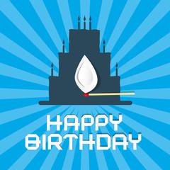 Happy Birthday Blue Background Illustration