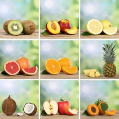 Collage mit Früchten und Obst wie Apfel, Orange und Zitrone