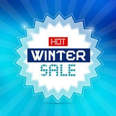 Hot Winter Sale Retro Blue Vector Background