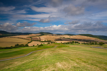 Golf course in autumn landscape