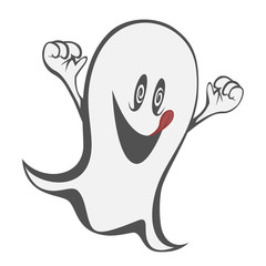 Funny freaky ghost with tongue out