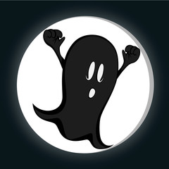 Funny freaky ghost in front of a full moon
