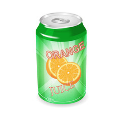 Can with orange juice. Vector illustration.