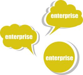 enterprise word on modern banner design template. set